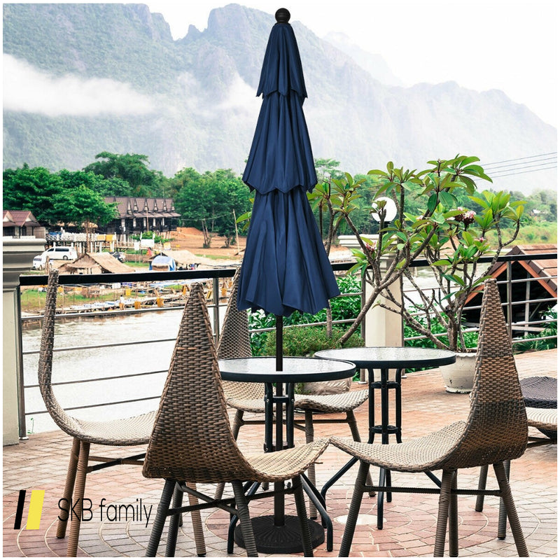 10' 3 Tier Patio Umbrella Aluminum Sunshade Shelter Double Vented 200815-23867