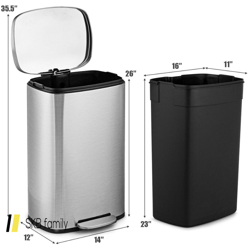 13.2 Gallon Trash Garbage Can Stainless Steel Bin With Bucket 200815-23868