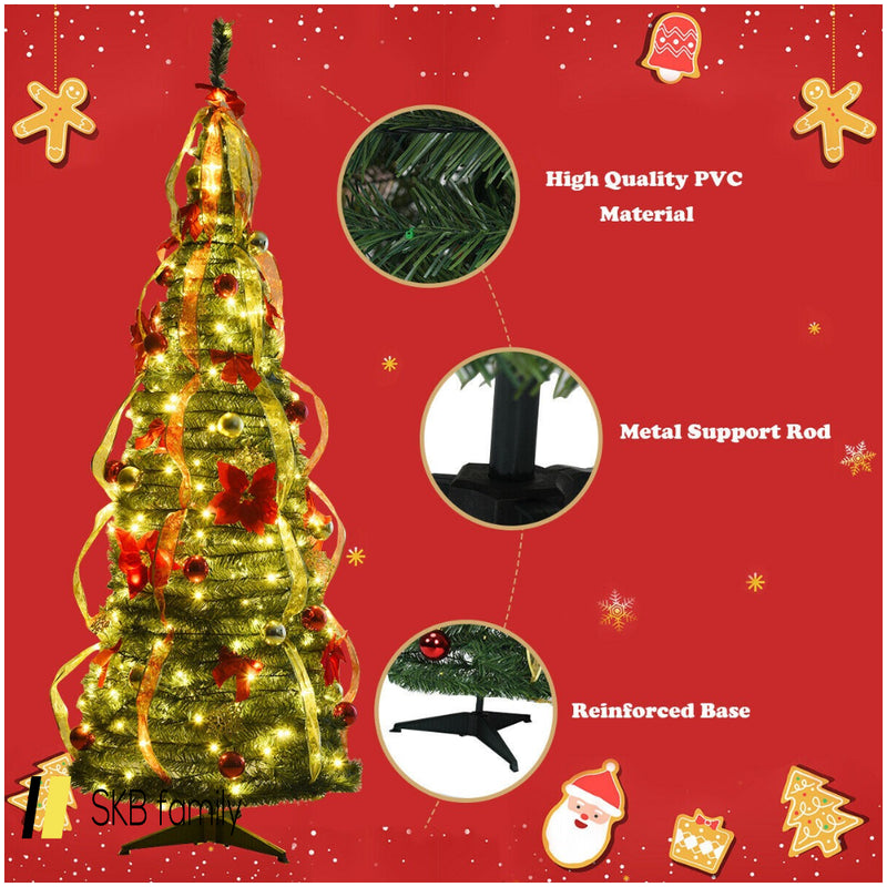 6 Ft Pre-Lit Spruce Christmas Tree With Light And Ribbon 200815-23877