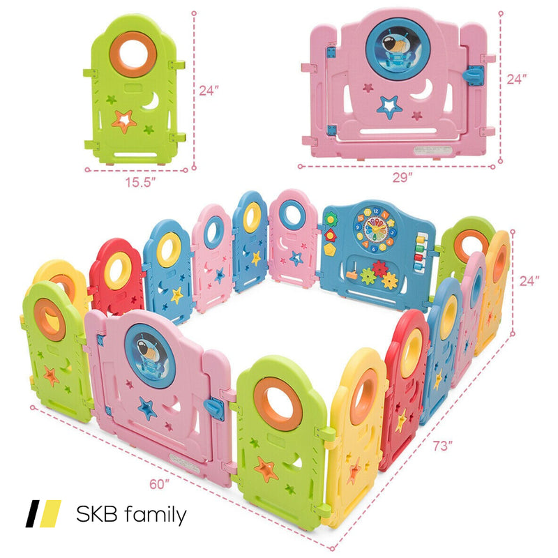 16 Panel Activity Center Baby Playpen With Gate 200815-23894