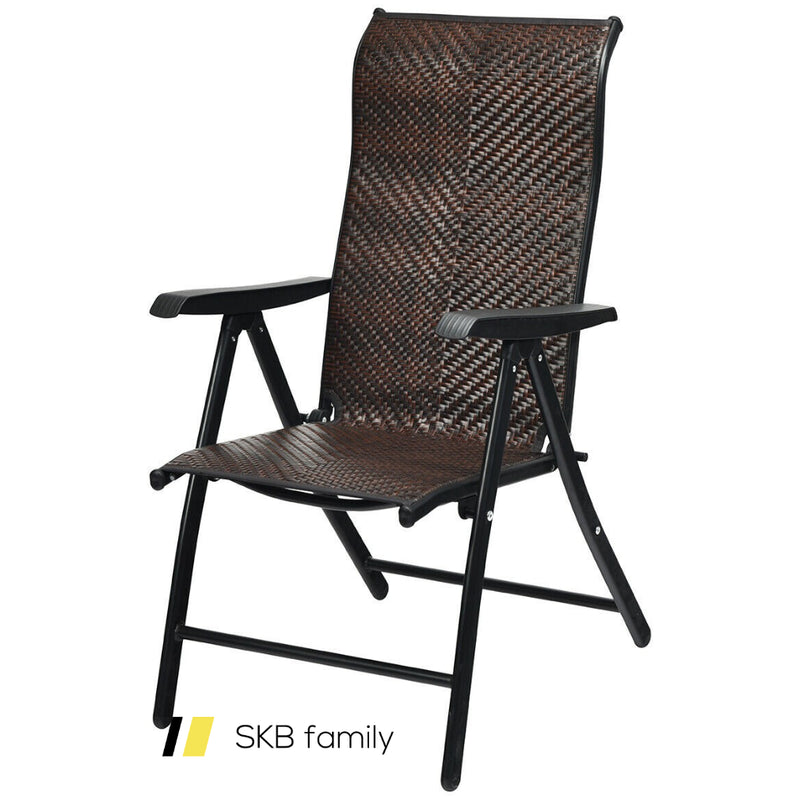 Patio Rattan Folding Chair With Armrest 200815-23897