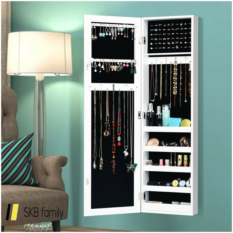 Door And Wall Mounted Armoire Mirrored Jewelry Cabinet 200815-23912