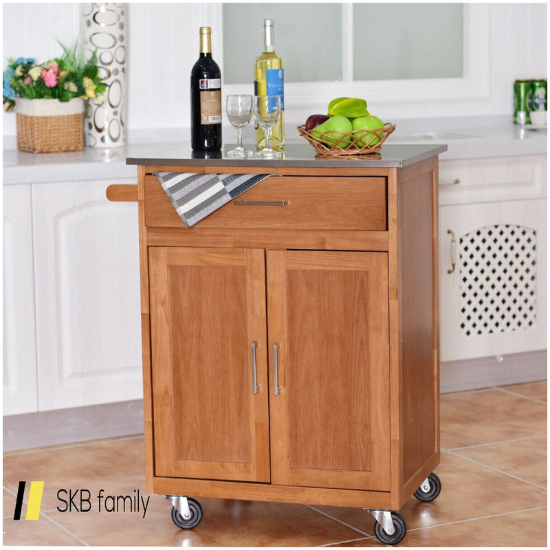 Wooden Kitchen Rolling Storage Cabinet With Stainless Steel Top 200815-23919