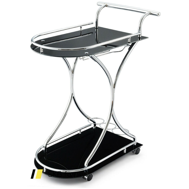 Glass Serving Rolling Bar Cart With Metal Frame 200815-23929
