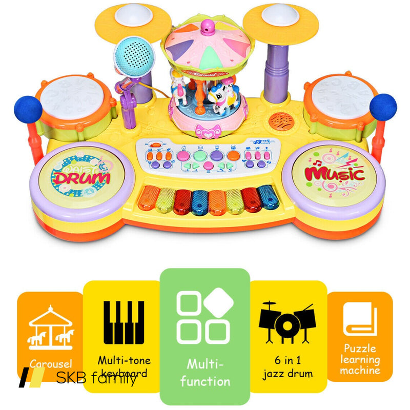 3-In-1 Kid Piano Keyboard Drum Set With Carousel Music Box 200815-23934