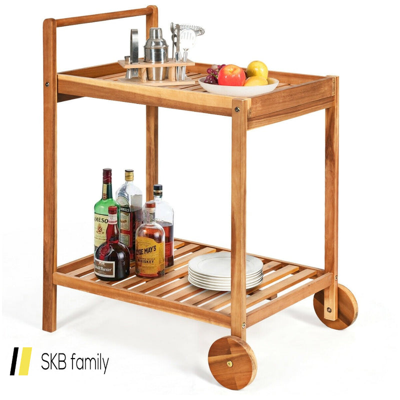 2-Tier Acacia Rolling Kitchen Trolley Cart 200815-23995