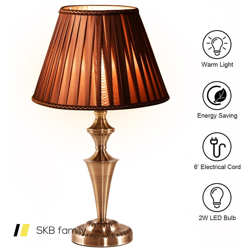 "13"" Antique Brass Bedroom Led Bulb Table Lamp 200815-24262"