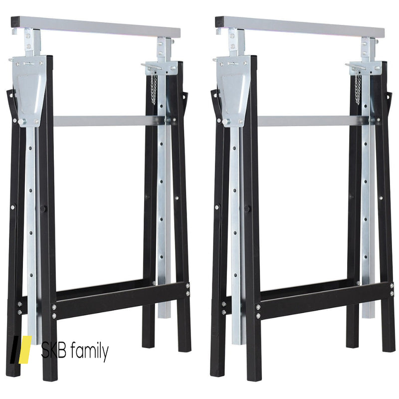 2 Pack Sawhorse Height Adjustable Folding Heavy Duty Trestle 200815-24278