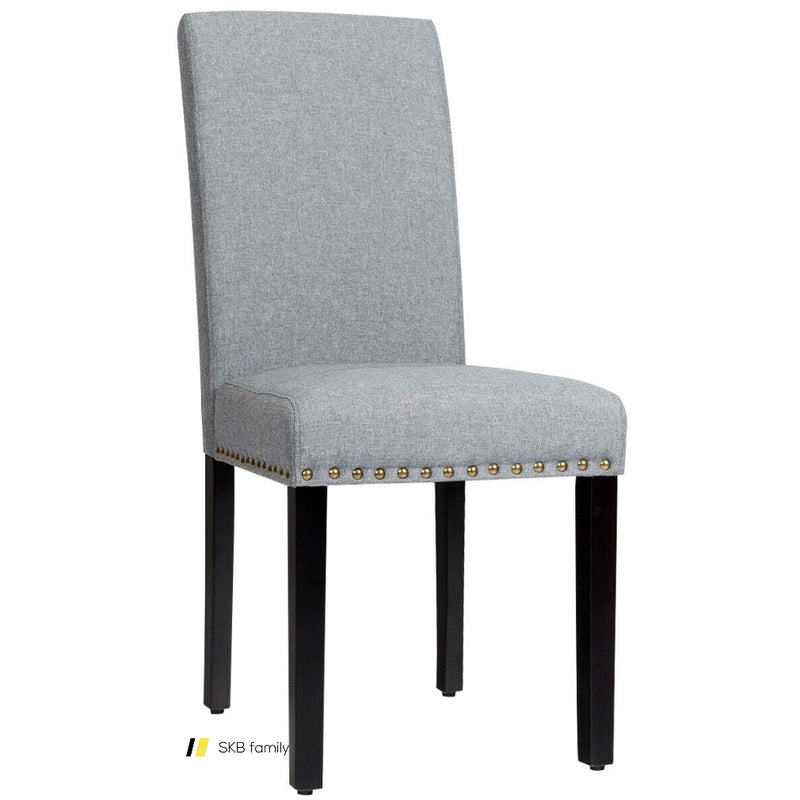 Set Of 2 Fabric Upholstered Dining Chairs With Nailhead 200815-24284