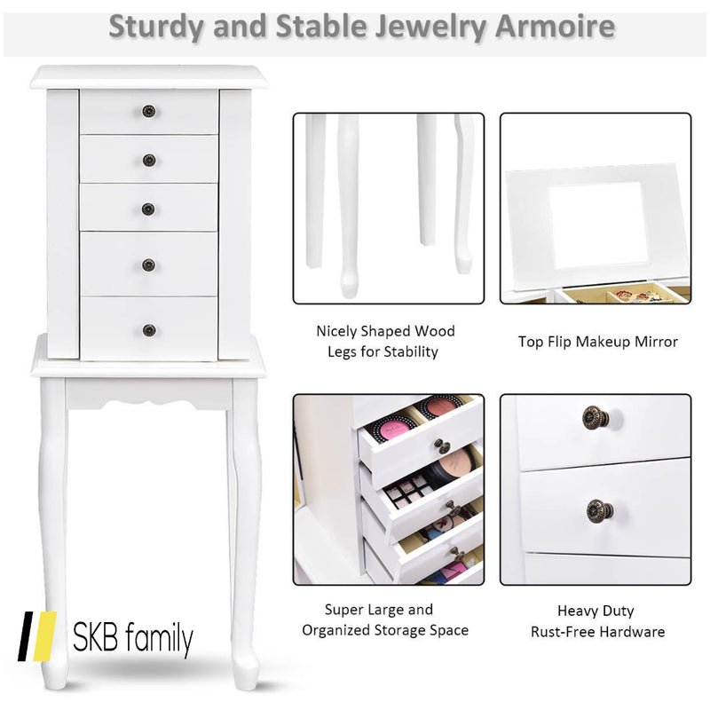2 Colors Armoire Storage Standing Jewelry Cabinet With Mirror 200815-24291