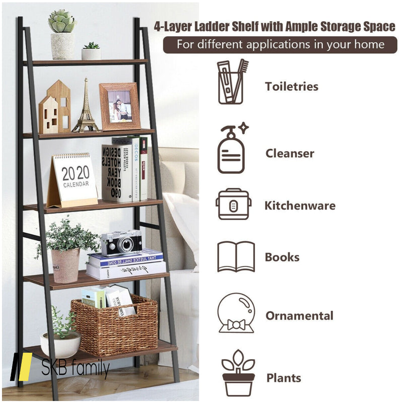5 Tier Leaning Bookshelf Wood Metal Bookcase 200815-24296