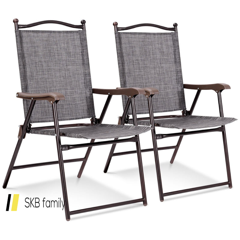 Set Of 2 Patio Folding Sling Back Camping Deck Chairs 200815-24312