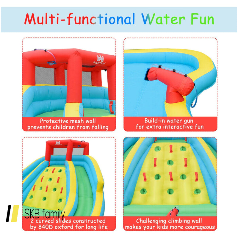 Double Side Inflatable Water Slide Park With Climbing Wall 200815-24314
