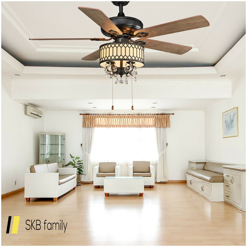 "52"" Crystal Ceiling Fan Lamp W/ 5 Reversible Blades 200815-24321"