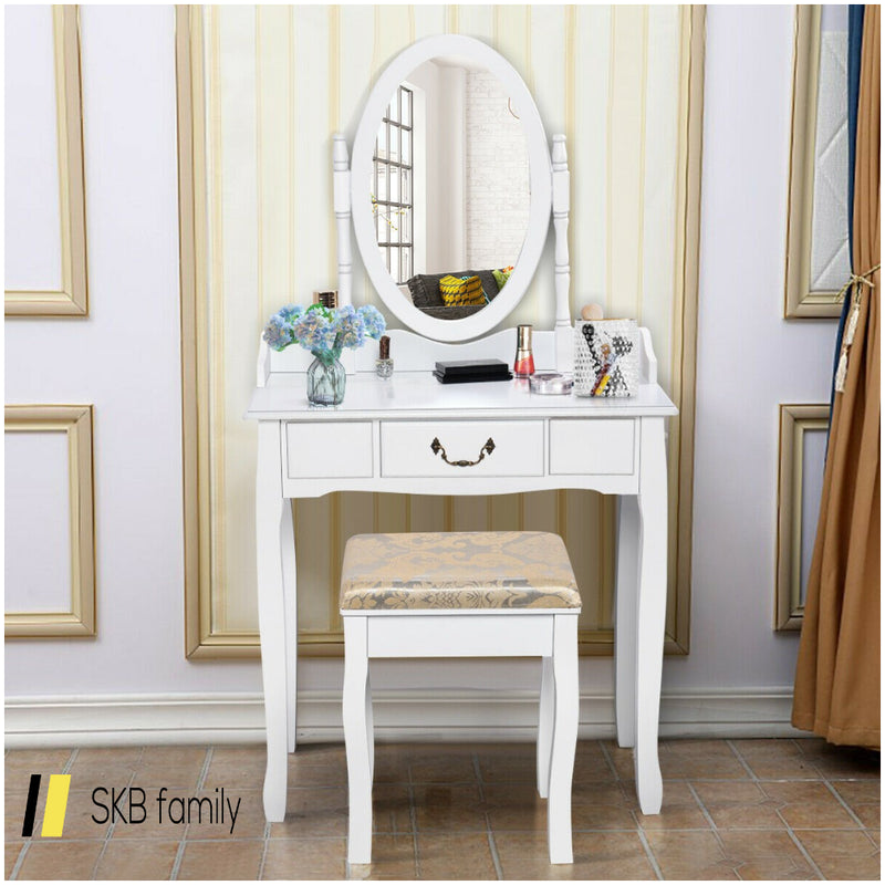 White Vanity Makeup Dressing Table With Rotating Mirror 200815-24322