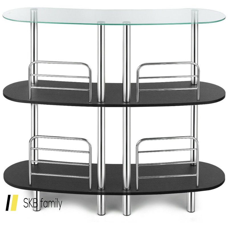 3-Tier Bar Cabinets Table With Tempered Glasstop 200815-24336