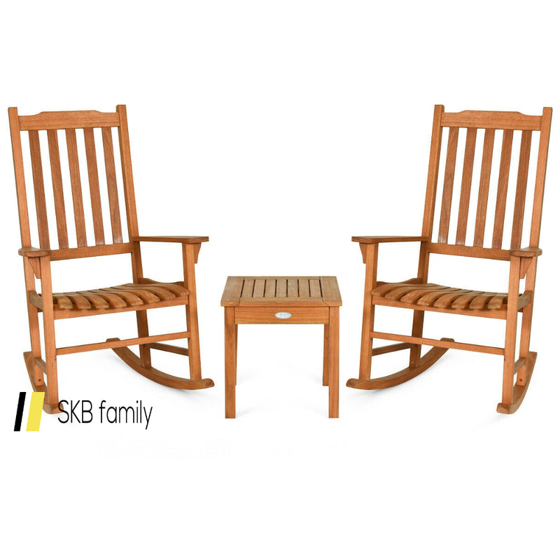 3 Pcs Eucalyptus Rocking Chair Set With Coffee Table 200815-24340