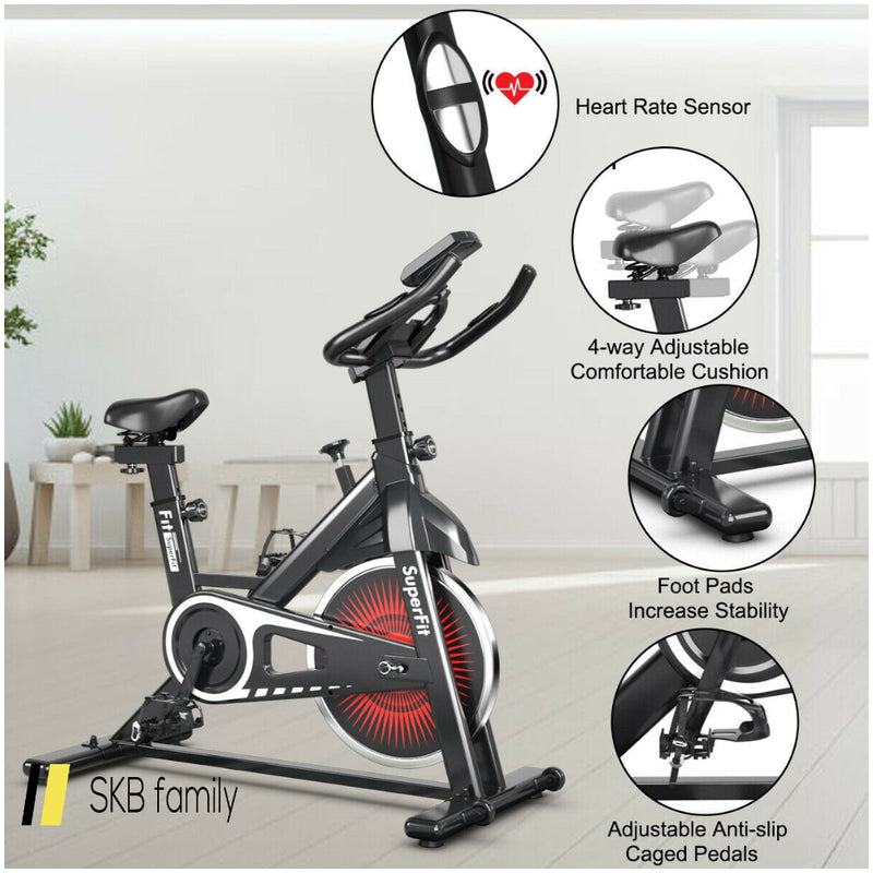Indoor Silent Belt Drive Adjustable Resistance Cycling Stationary Bike 200815-24347