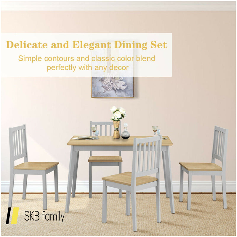 5 Piece Mid Century Modern Dining Table Set 200815-24350