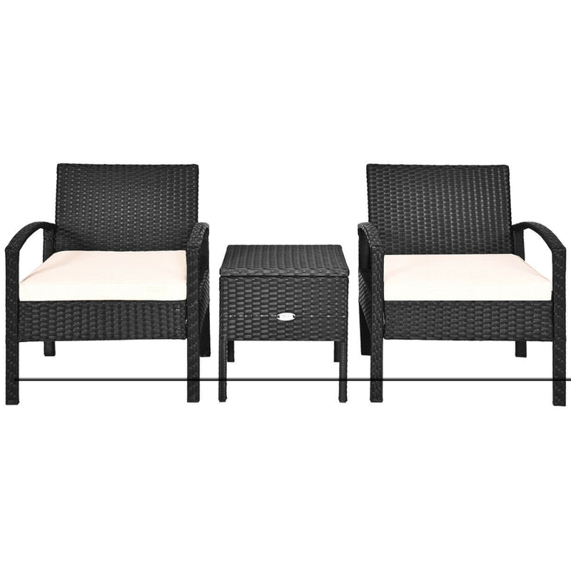 3 Pcs Outdoor Patio Rattan Furniture Set With Cushion 200815-24357