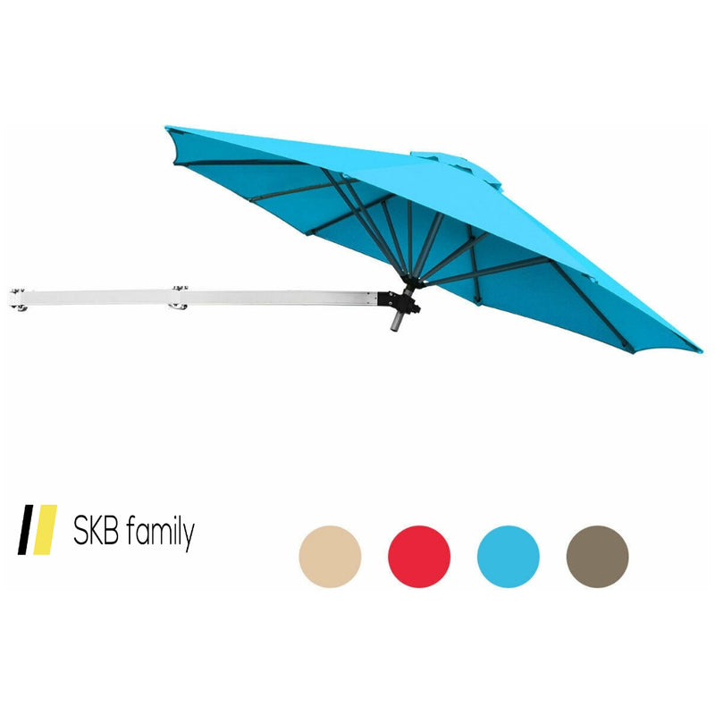 8ft Wall-Mounted Telescopic Folding Tilt Aluminum Sun Shade Umbrella 200815-24359