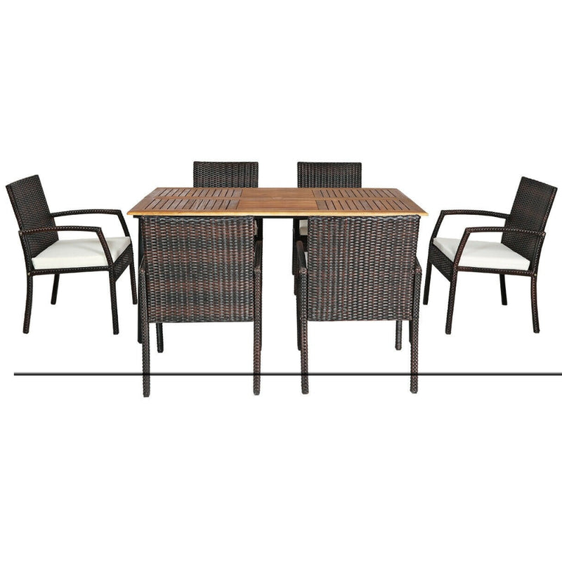 7pcs Patio Rattan Cushioned Dining Set With Umbrella Hole 200815-24374