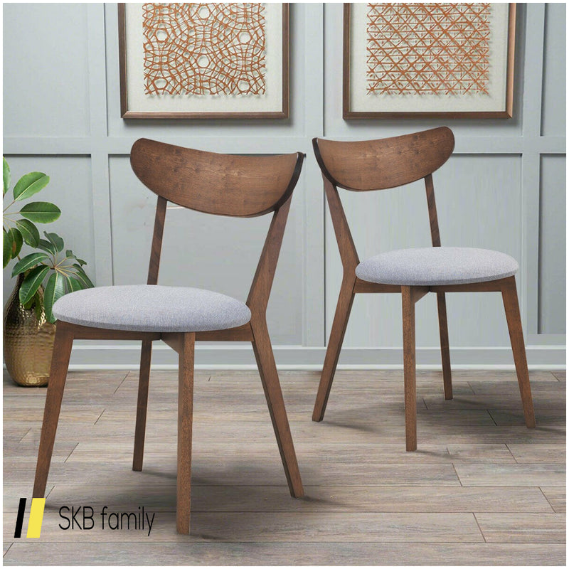 Set Of 2 Dining Chair Upholstered Curved Back Side 200815-24379