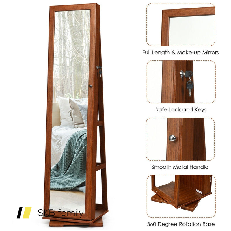 360° Rotatable Armoire 2-In-1 Lockable Mirrored Jewelry Cabinet 200815-24383