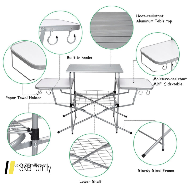 Foldable Outdoor Bbq Table Grilling Stand 200815-24387