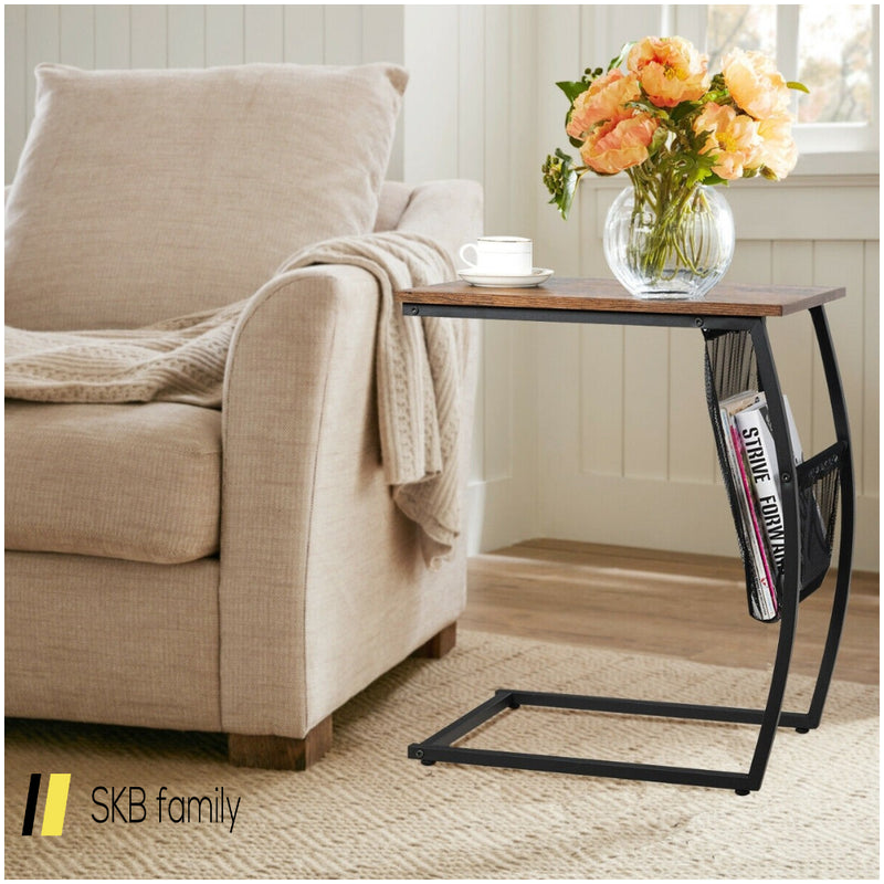 C-Shaped End Side Sofa Table Vintage Accent Snack 200815-24392