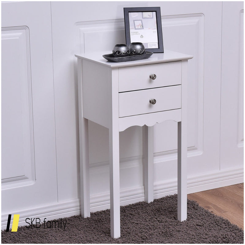 Practical Vintage Side End Table With 2 Drawers 200815-24404
