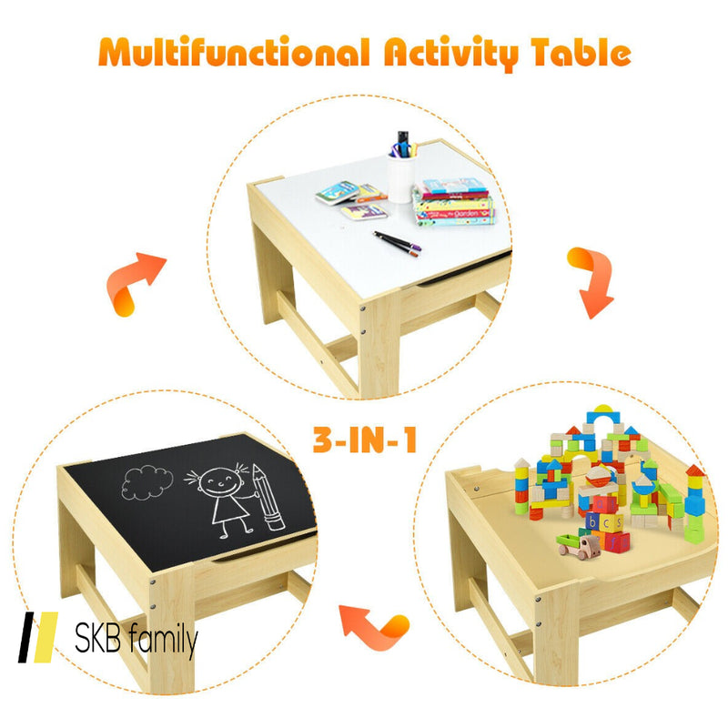 Kids Table Chairs Set With Storage Boxes Blackboard Whiteboard Drawing 200815-24407