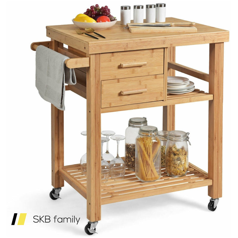 Bamboo Kitchen Trolley Cart 200815-24416