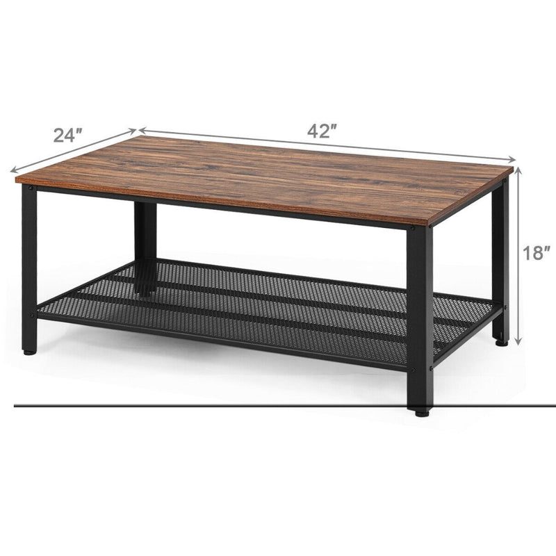 Metal Frame Wood Coffee Table Console Table With Storage Shelf 200815-24440