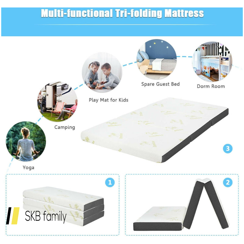"4"" Twin Size Tri-Folding Memory Foam Mattress 200815-24461"