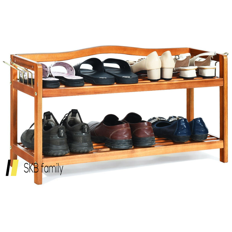 2-Tier Wood Shoe Rack Freestanding Shoe Storage Organizer 200815-24464