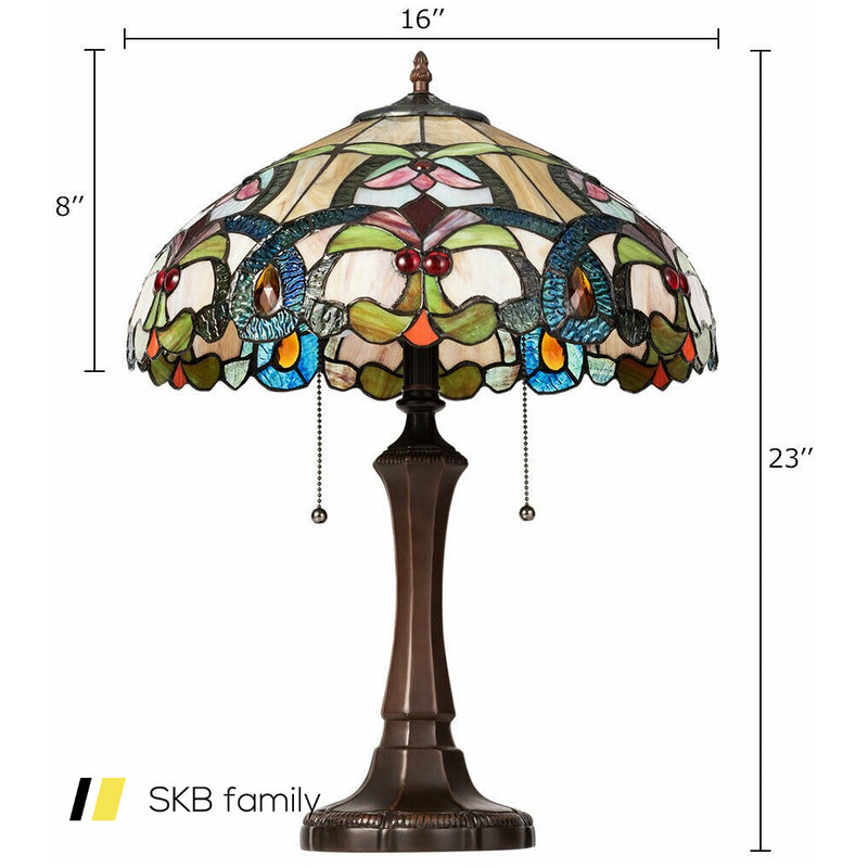 "Tiffany-Style Victorian 2-Light Table Lamp With 16"" Stained Shade 200815-24477"