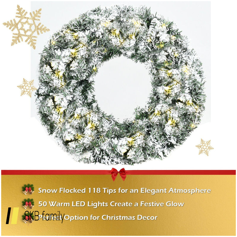 "24"" Artificial Snow Flocked Christmas Pine Wreath With Led Lights 200815-24480"