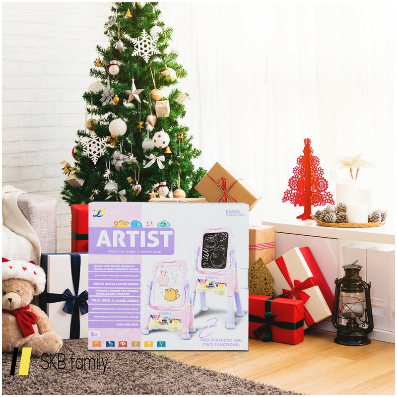 Kids Height Adjustable Double Side Magnetic Art Easel 200815-24495