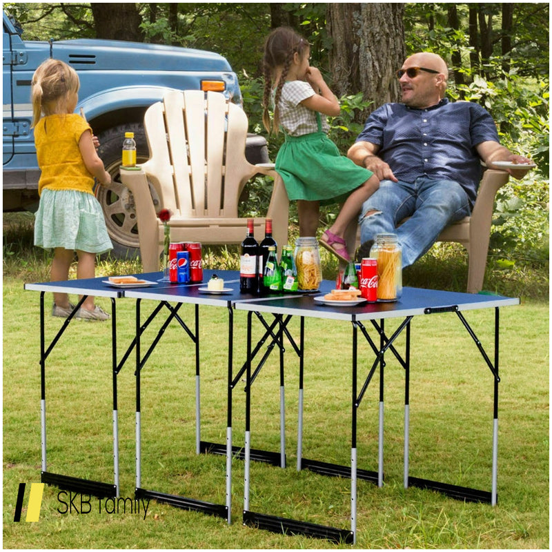 3 Pcs Folding Height Adjustable Camping Picnic Table Set 200815-24497
