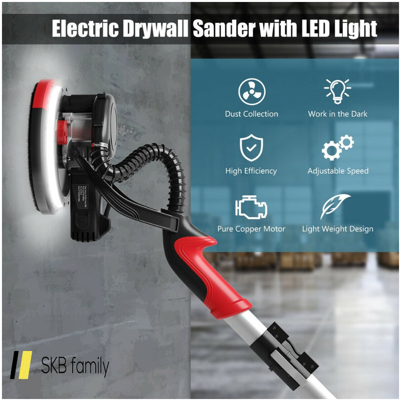 Electric Drywall Sander 750w Adjust Variable Speed W/ Vacuum & Light 200815-24508