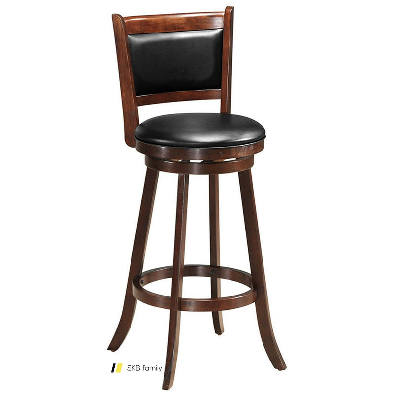 "29"" Swivel Bar Height Stool Wooden Upholstered Dining Chair 200815-24515"