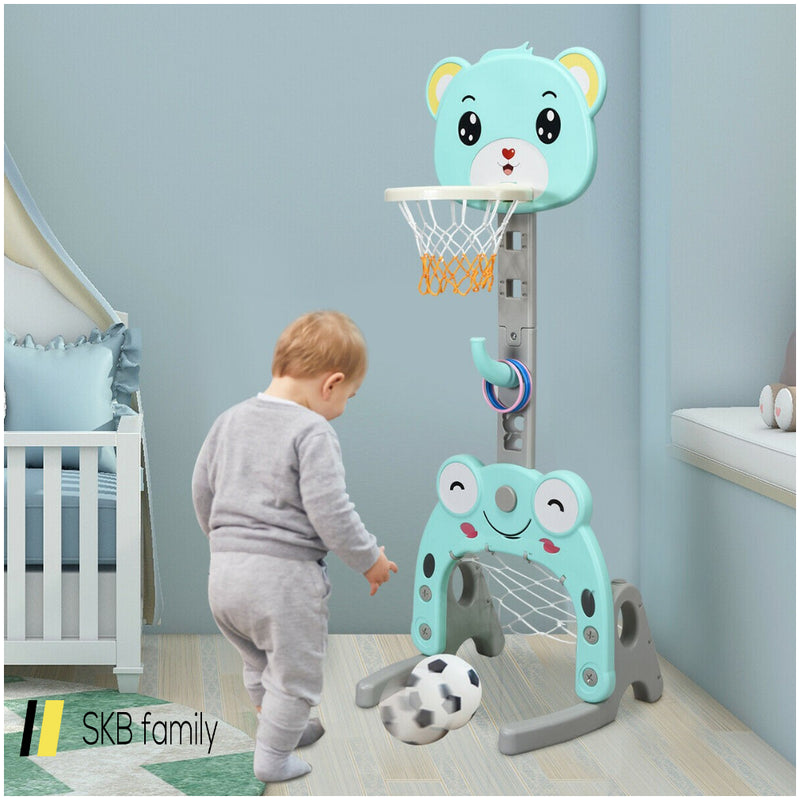Adjustable Kids 3-In-1 Basketball Hoop Set Stand With Balls 200815-24527