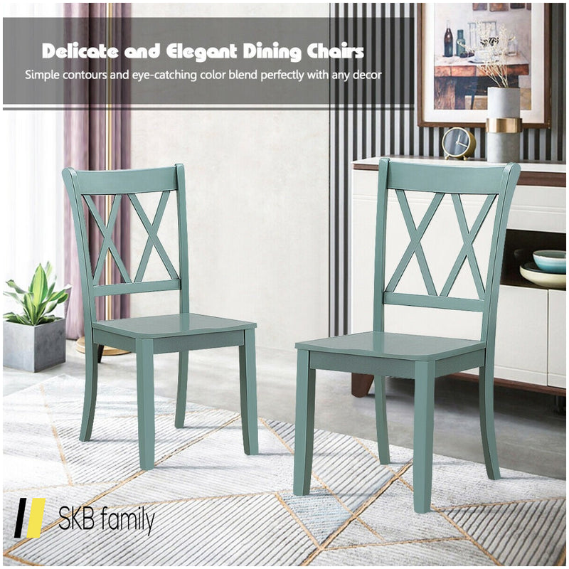 Set Of 2 Cross Back Wood Dining Chair 200815-24546
