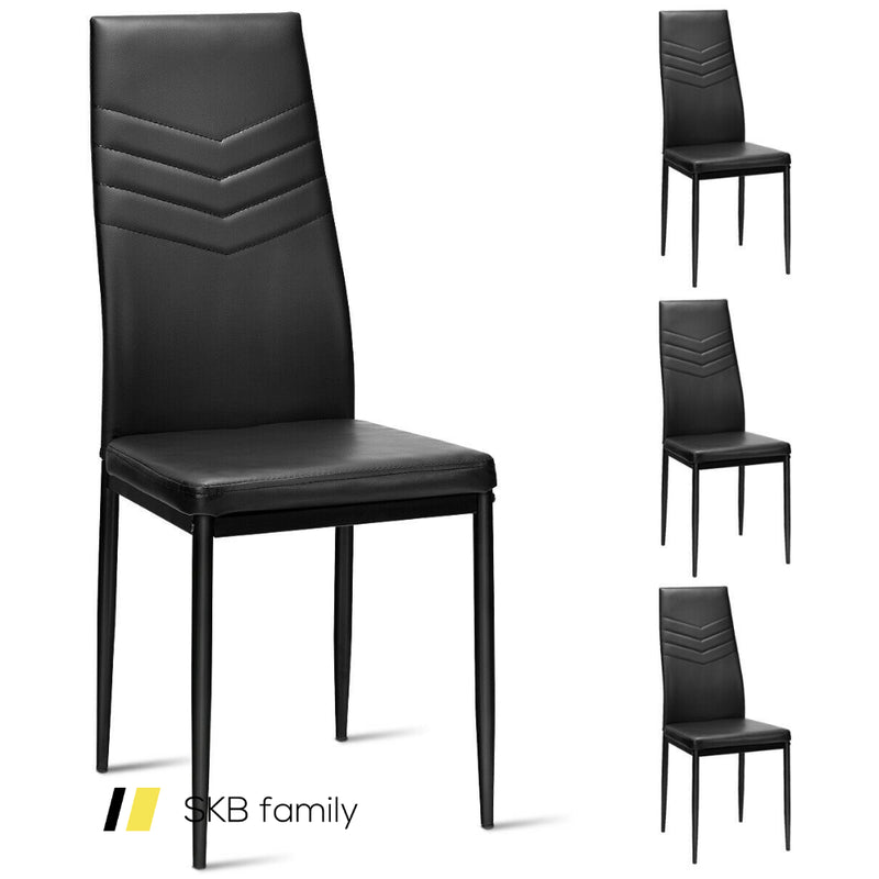 Set Of 4 Pvc Dining Side Metal Frame Chairs 200815-24547