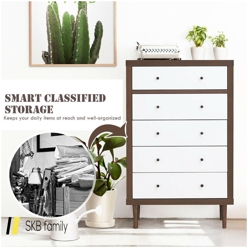 5 Drawer Dresser Wood Chest Of Storage Cabinet Organizer 200815-24557