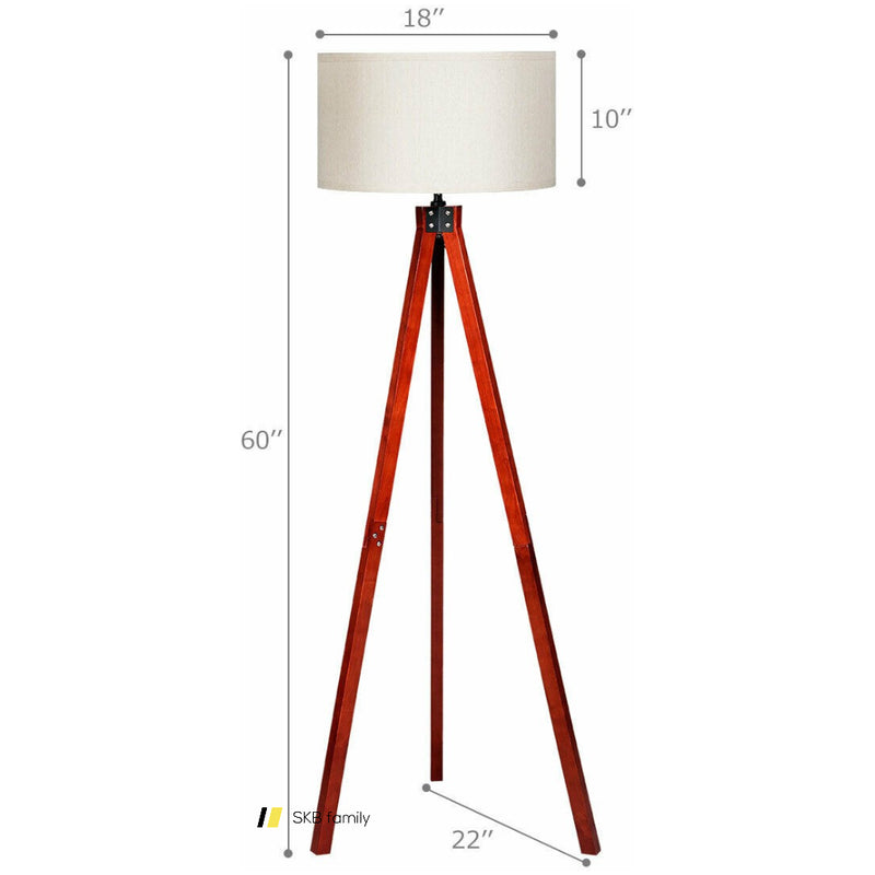 Modern Wood Tripod Floor Lamp With Foot Switch 200815-24560