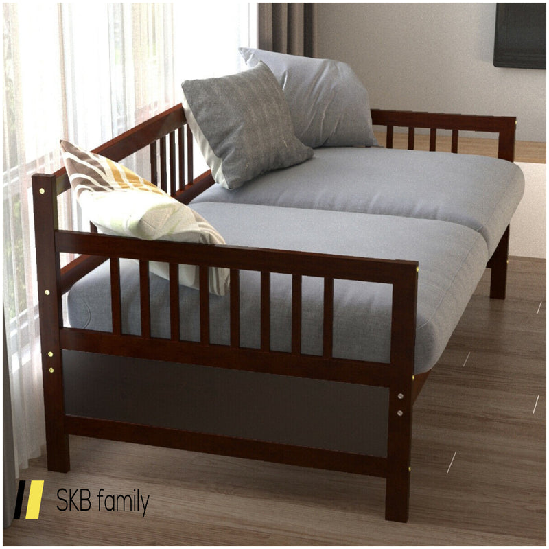 Twin Size Wooden Slats Daybed Bed With Rails 200815-24571