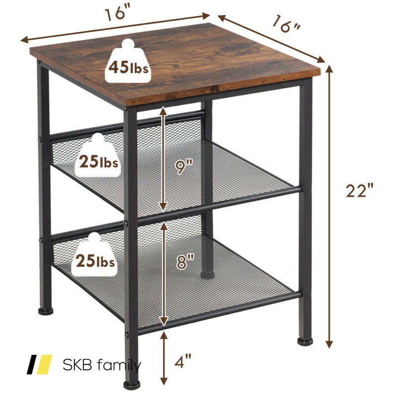 3-Tier Industrial End Side Table Nightstand Adjustable Shelves 200815-24599
