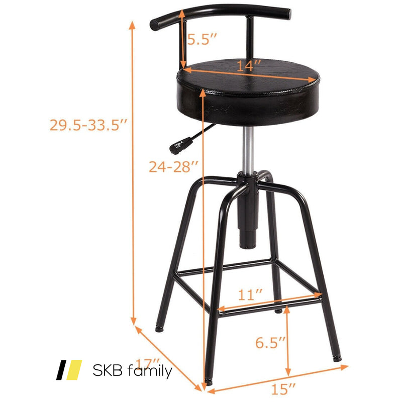 Adjustable Swivel Vintage Bar Stool Pu Leather Steel Frame 200815-24613